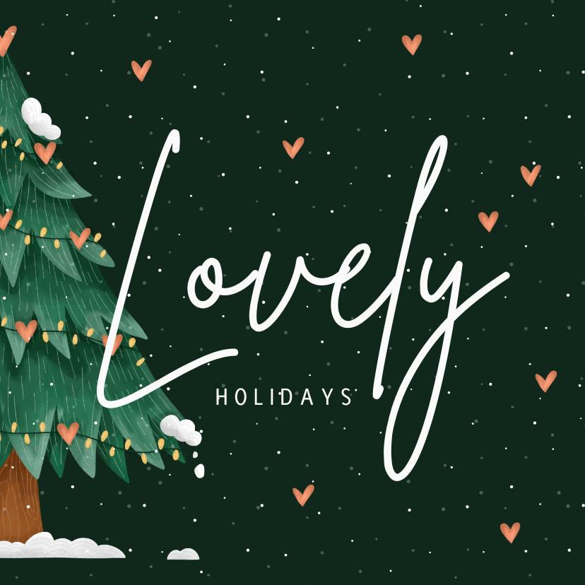 Kerstkaarten - Kerstkaart lovely holidays kerstboom met hartjes