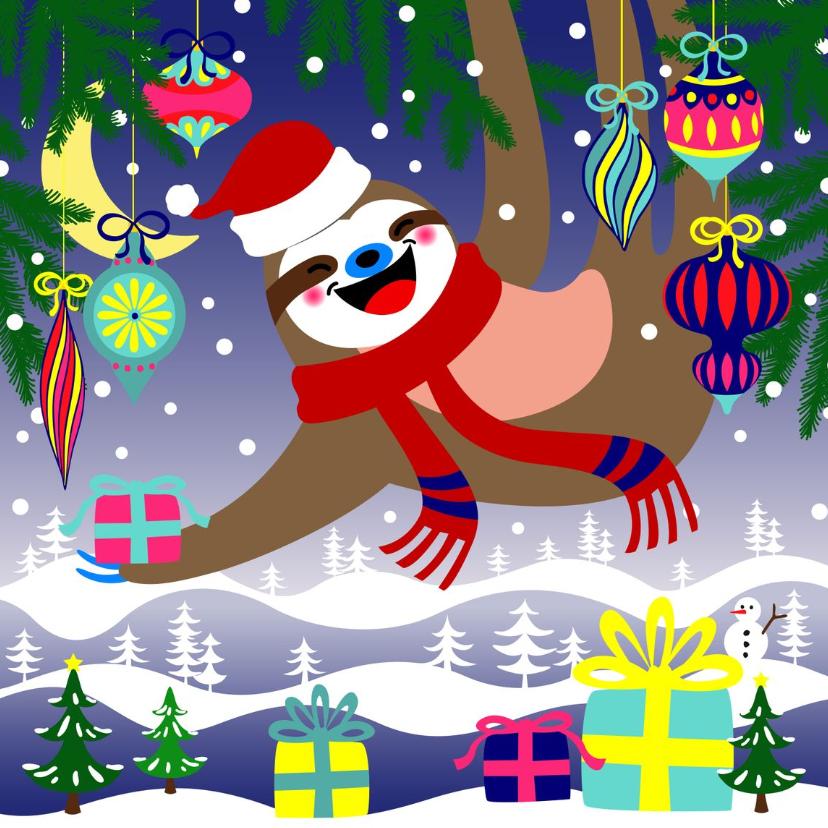 Kerstkaarten - Kerstkaart, luiaard met kerstballen en cadeau's in de sneeuw
