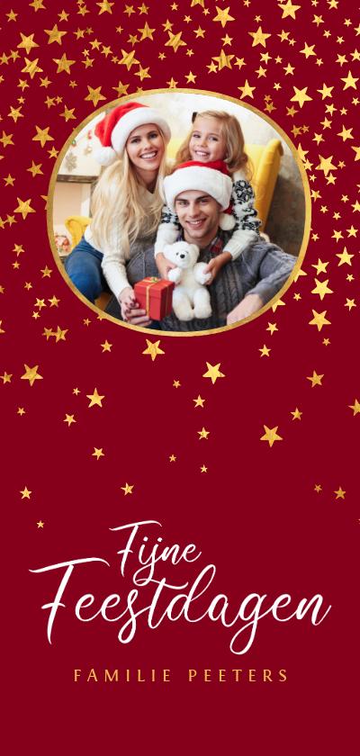 Kerstkaarten - Kerstkaart luxe fijne feestdagen goud sterren foto