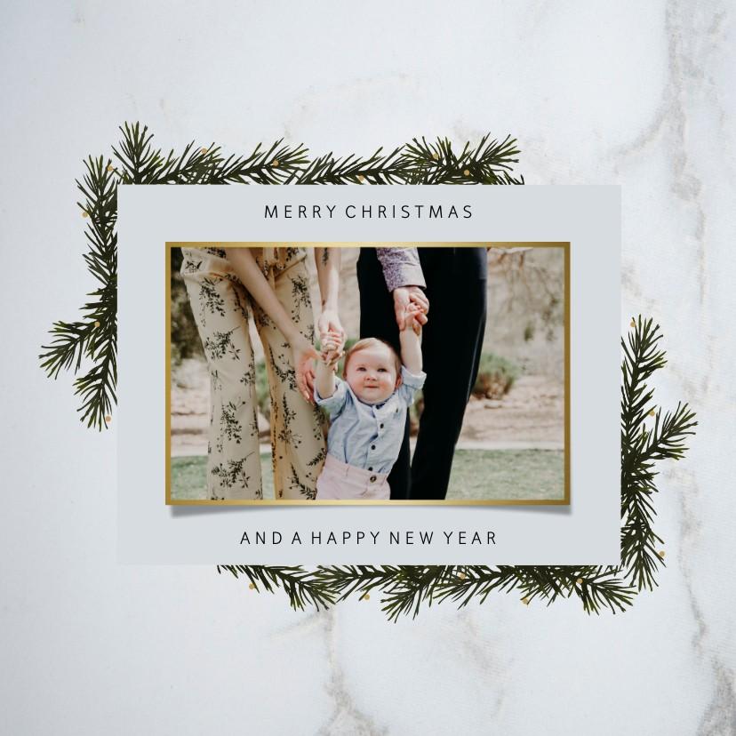 Kerstkaarten - Kerstkaart marmer goudlook