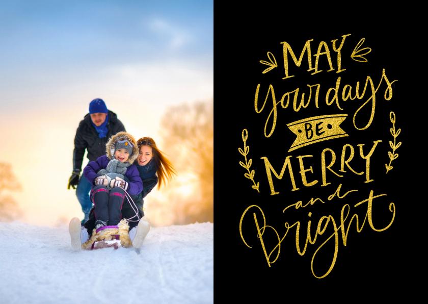 Kerstkaarten - Kerstkaart Merry and Bright goud zwart met foto