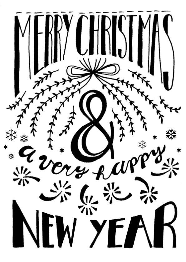 Kerstkaarten - Kerstkaart merry christmas & happy new year