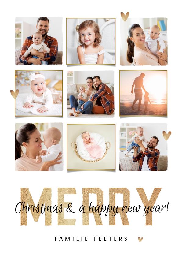 Kerstkaarten - kerstkaart merry christmas fotocollage goudlook hartjes