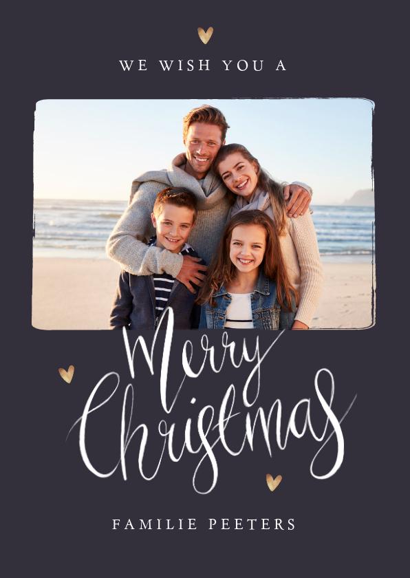 Kerstkaarten - Kerstkaart merry christmas fotocollage stijlvol