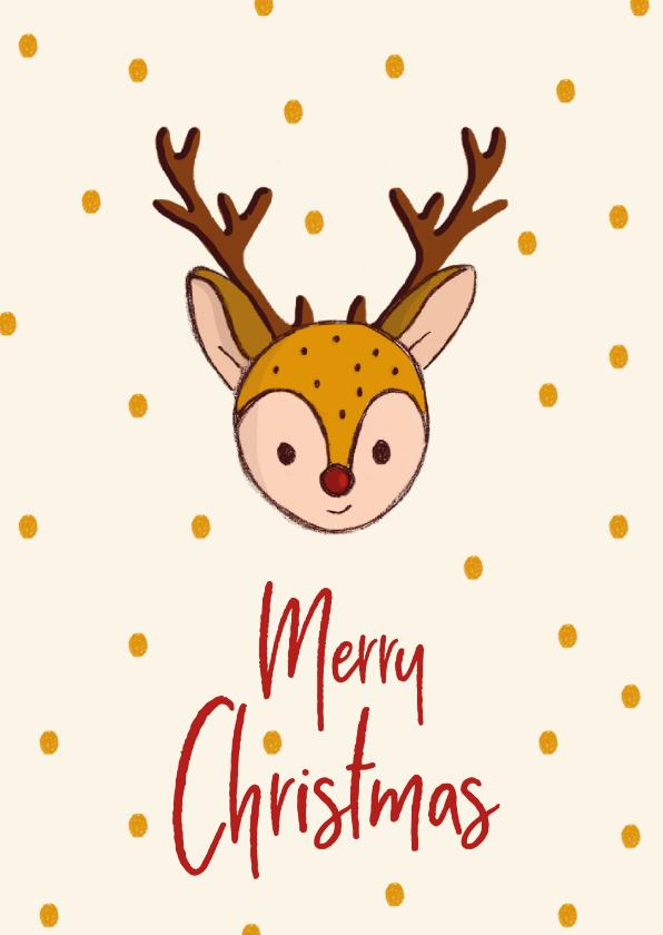 Kerstkaarten - Kerstkaart Merry Christmas hert illustratie