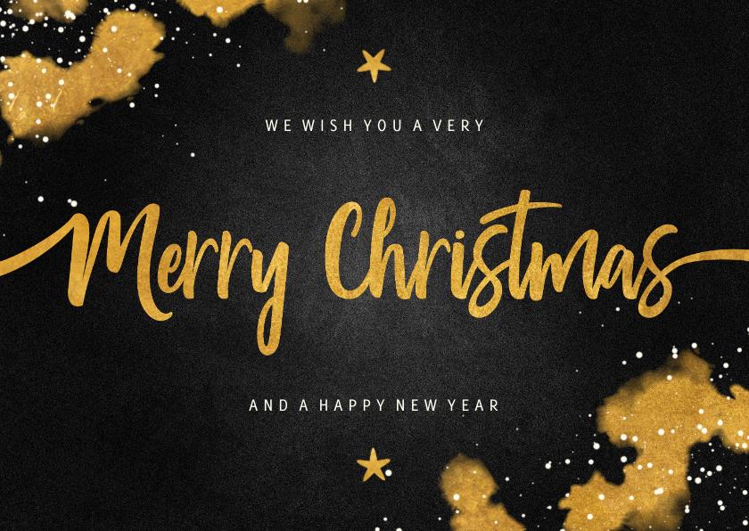 Kerstkaarten - Kerstkaart Merry Christmas krijtbord met goud