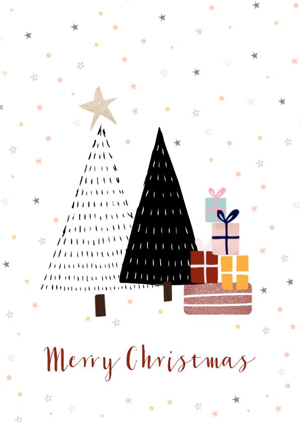 Kerstkaarten - Kerstkaart Merry Christmas met kerstbomen en cadeautjes