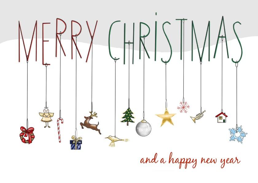 Kerstkaarten - Kerstkaart - merry christmas met kersthangers