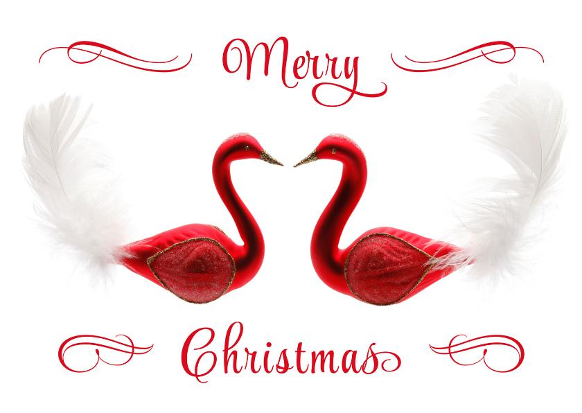 Kerstkaarten - Kerstkaart Merry Christmas rode zwaantjes