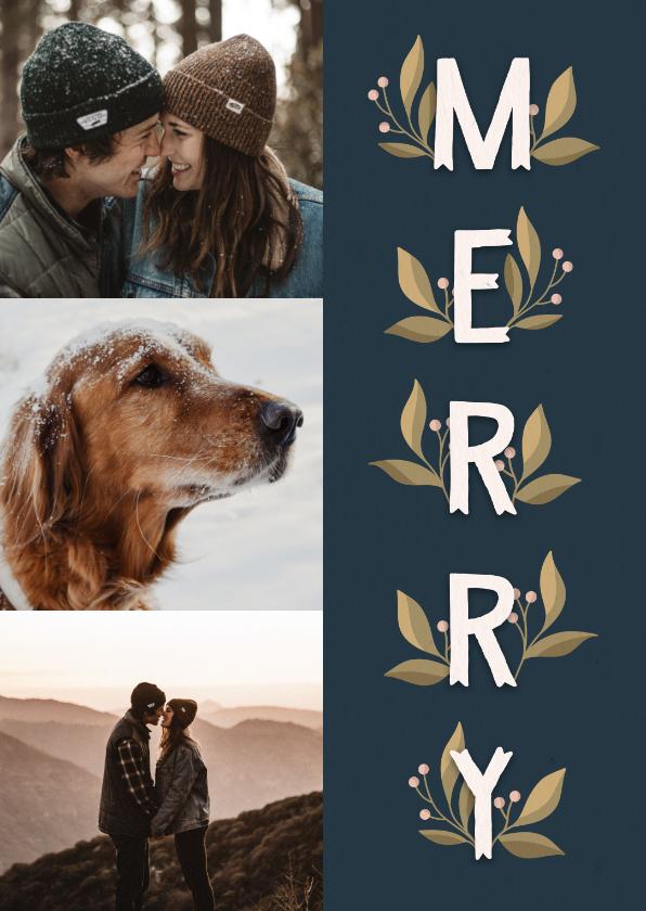 Kerstkaarten - Kerstkaart 'Merry' met takjes en foto's