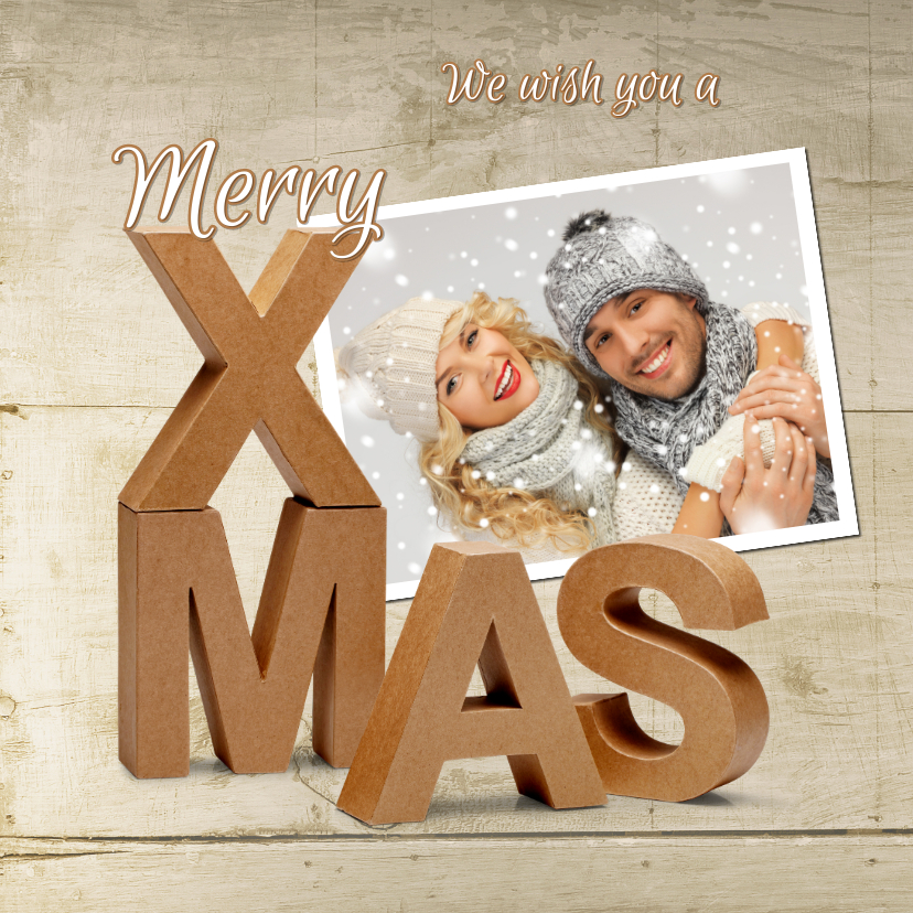 Kerstkaarten - Kerstkaart Merry X-Mas karton 3D op hout 2020