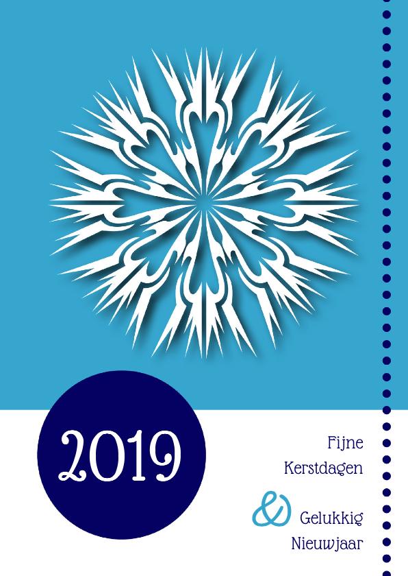Kerstkaarten - Kerstkaart met 2019 grafisch blauw