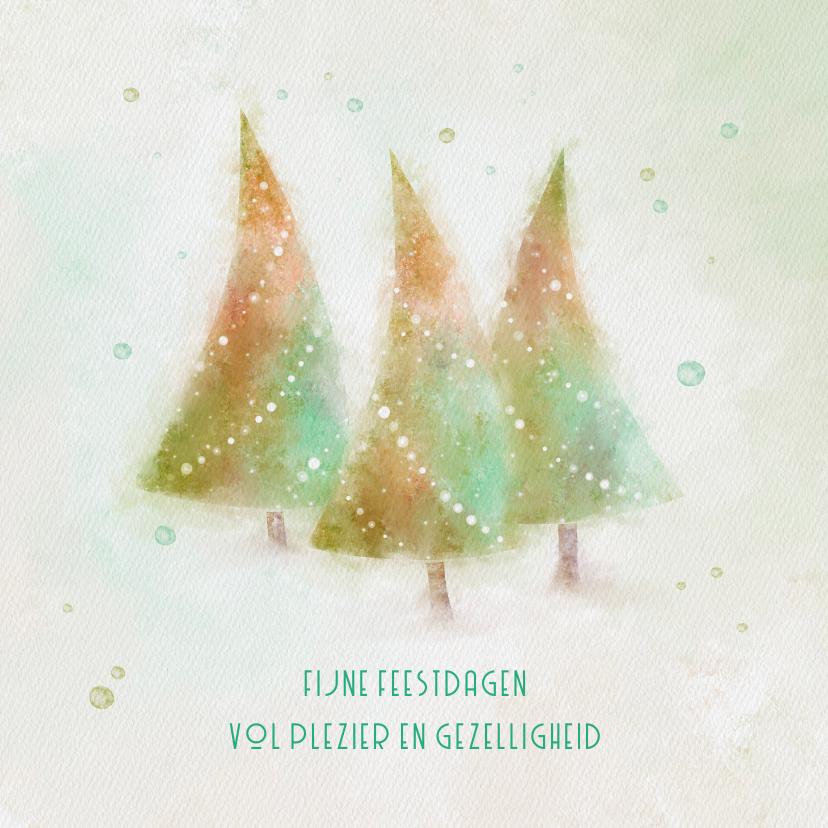 Kerstkaarten - Kerstkaart met 3 aquarel kerstbomen