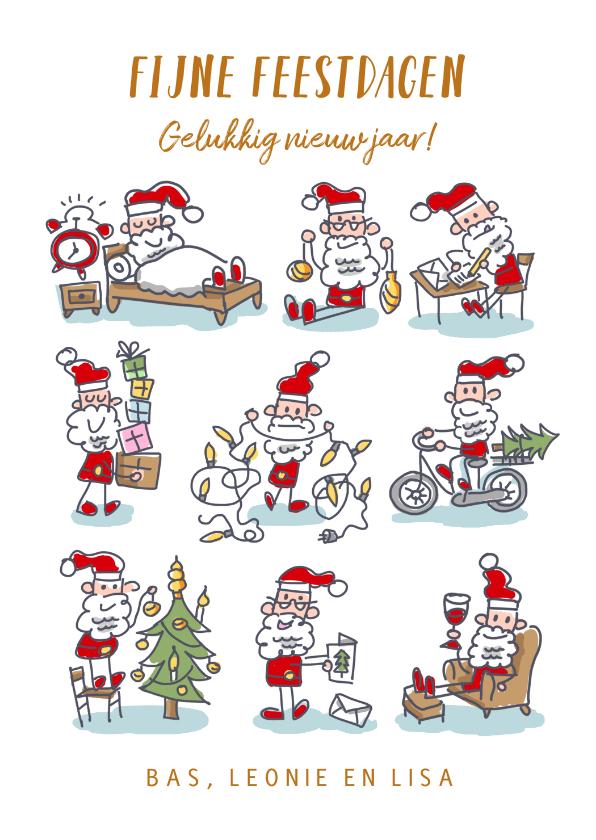 Kerstkaarten - Kerstkaart met 9 kerstmannetjes