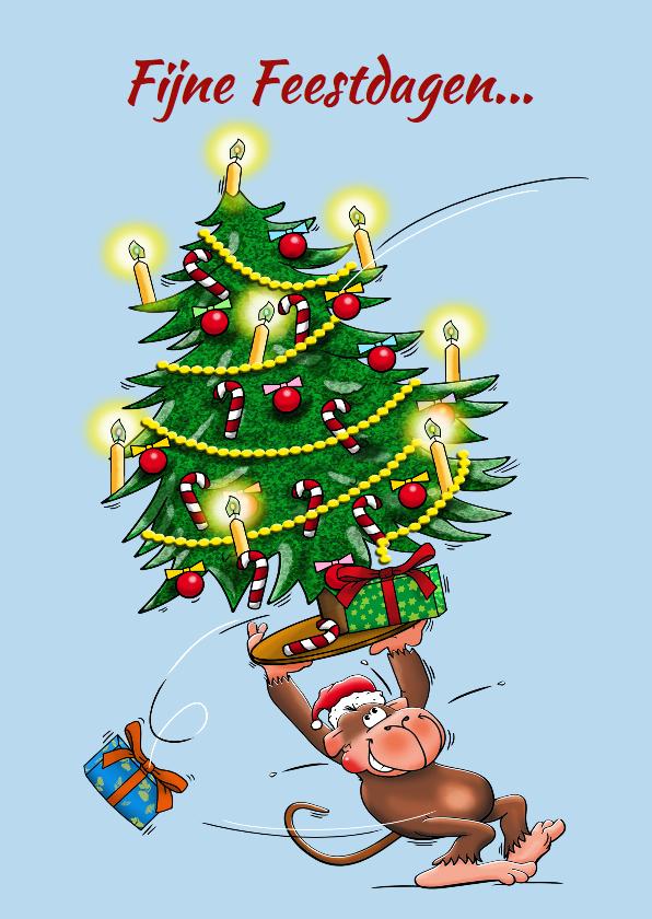 Kerstkaarten -  Kerstkaart met aapje en champagne - HE