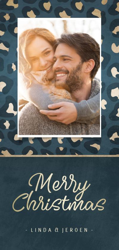 Kerstkaarten - Kerstkaart met blauw/gouden panterprint en foto