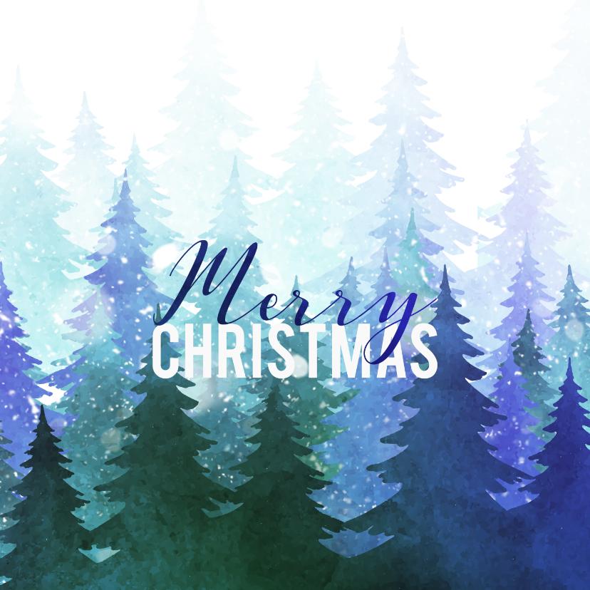 Kerstkaarten - Kerstkaart met bomen en sneeuw