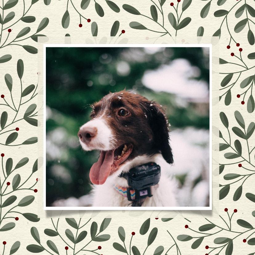 Kerstkaarten - Kerstkaart met botanische takjes en foto