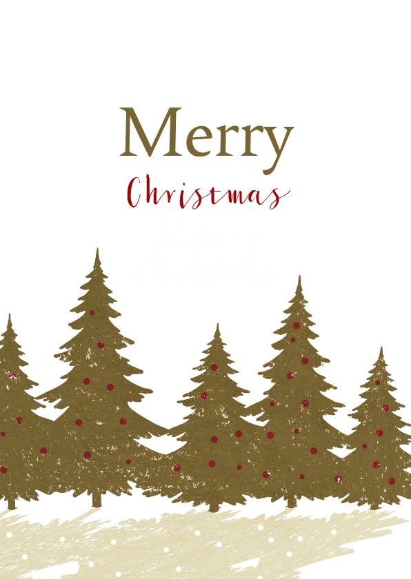 Kerstkaarten - Kerstkaart met dennenbomen en lichtjes