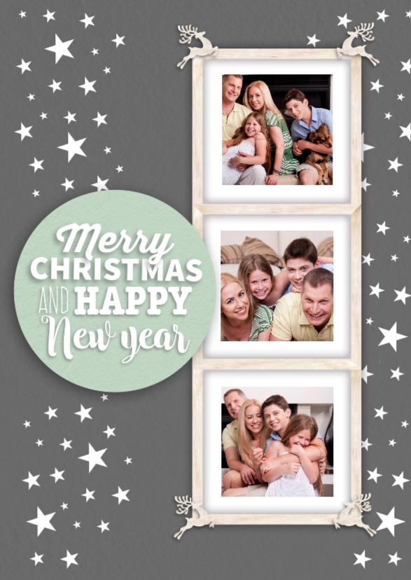 Kerstkaarten - Kerstkaart met een 'houten' fotolijstje