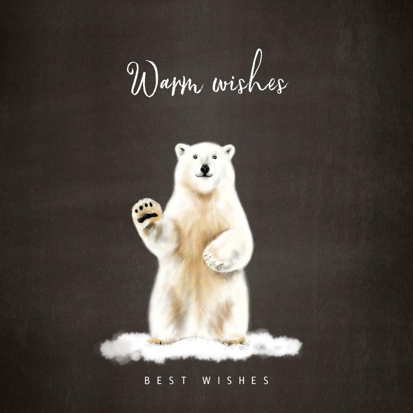 Kerstkaarten - Kerstkaart met een illustratie van een ijsbeer