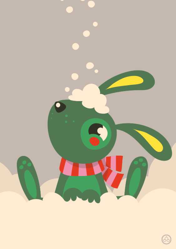 Kerstkaarten - Kerstkaart met een  illustratie van een konijn in de sneeuw