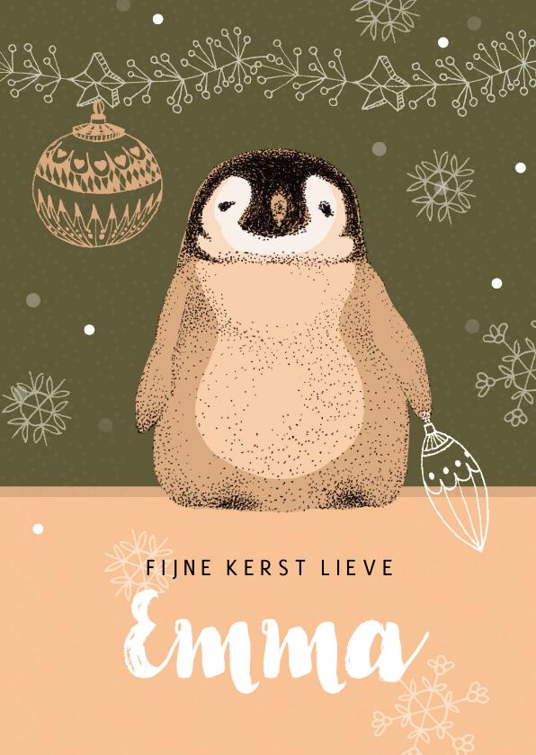 Kerstkaarten - Kerstkaart met een lief pinguïn
