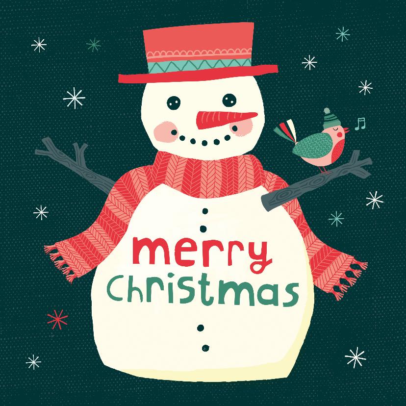 Kerstkaarten - Kerstkaart met een vrolijke sneeuwpop