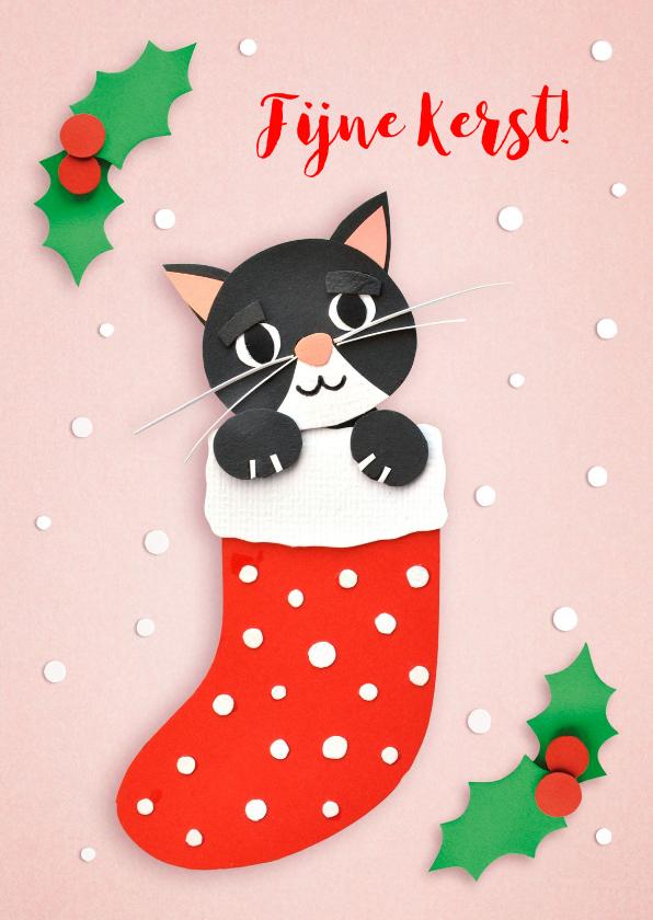 Kerstkaarten - Kerstkaart met een zwarte kat