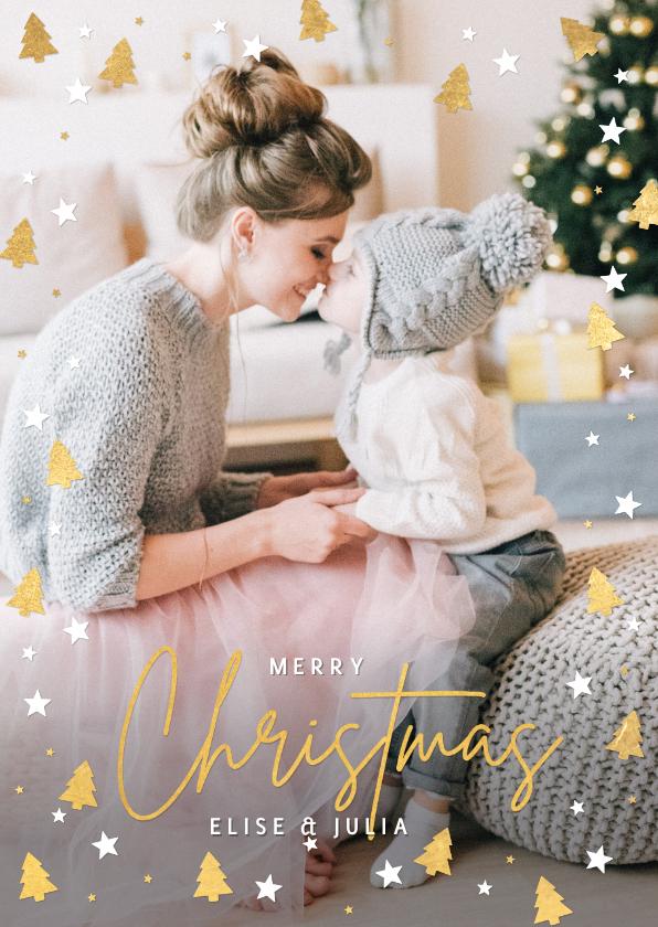 Kerstkaarten - Kerstkaart met eigen foto en kerstbomen en sterretjes kader