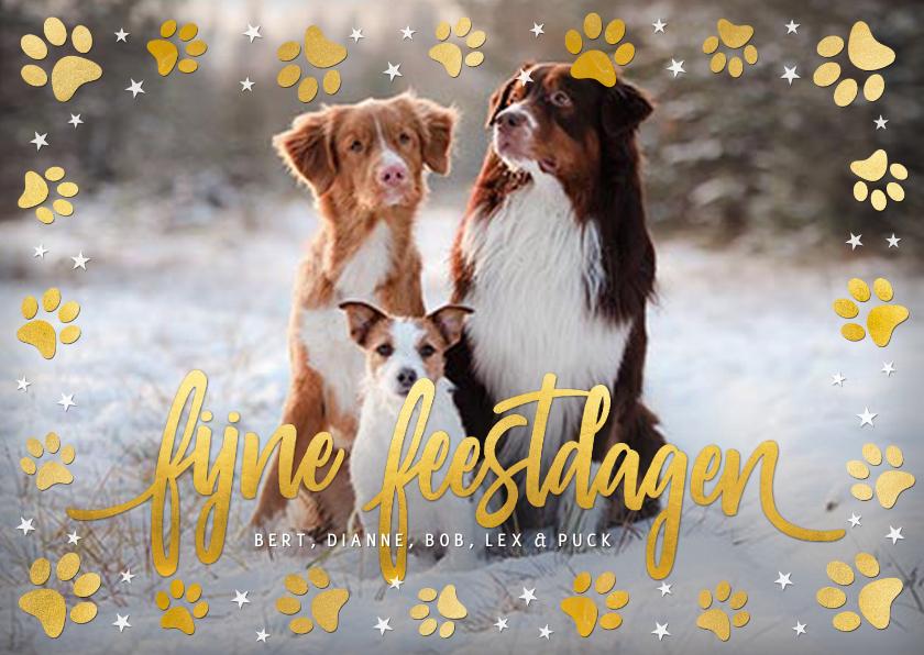 Kerstkaarten - Kerstkaart met eigen foto van hond en pootafdrukjes in goud