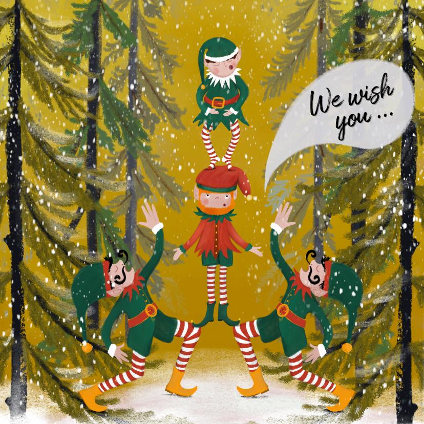Kerstkaarten - Kerstkaart met elfjes