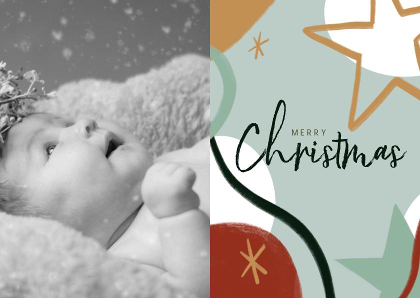 Kerstkaarten - Kerstkaart met foto en abstracte illustratie en ster
