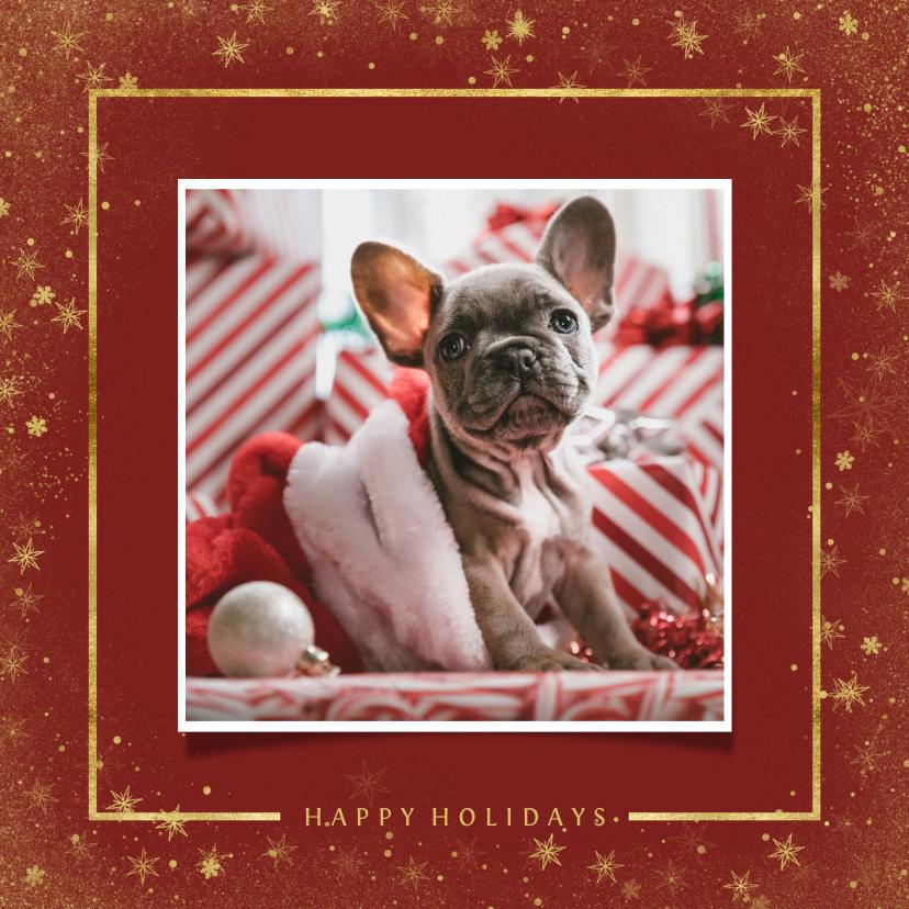 Kerstkaarten - Kerstkaart met foto en goudlook kader