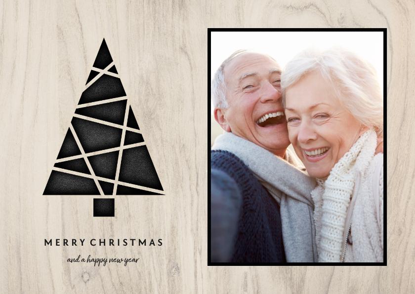 Kerstkaarten - Kerstkaart met foto, kerstboom en houten achtergrond