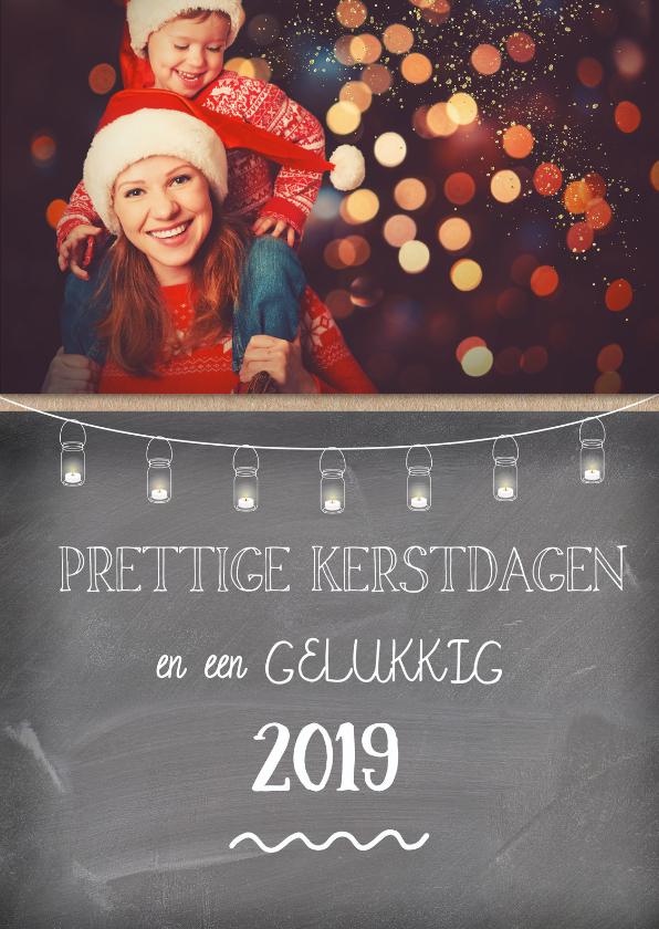 Kerstkaarten - Kerstkaart met foto op schoolbord en gezellige lampjes