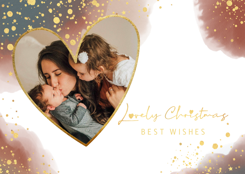 Kerstkaarten - Kerstkaart met foto stijlvol waterverf en gouden spetters