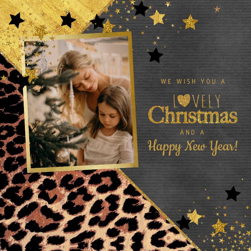 Kerstkaarten - Kerstkaart met foto stoer panterprint en sterren