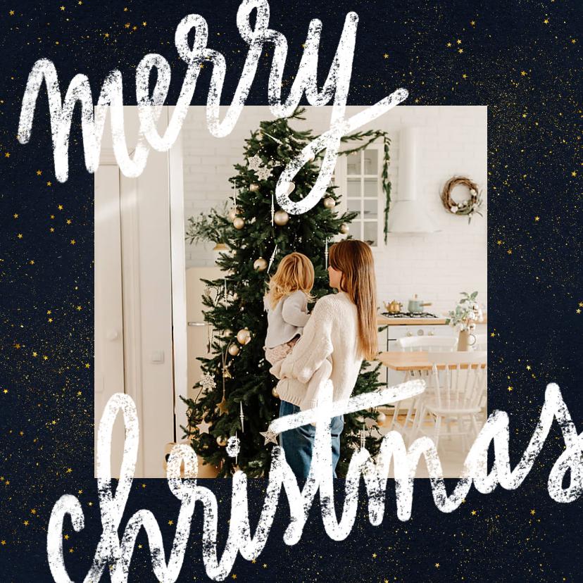 Kerstkaarten - Kerstkaart met foto, typografie en gouden sterren