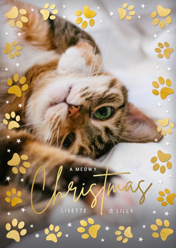 Kerstkaarten - Kerstkaart met foto van je poes of kat en pootafdrukken