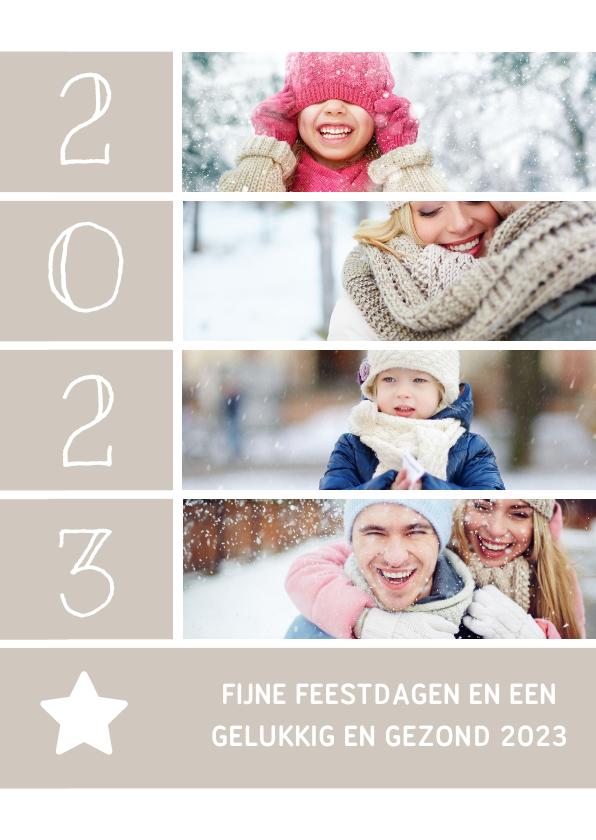 Kerstkaarten - Kerstkaart met foto's, ster en jaartal
