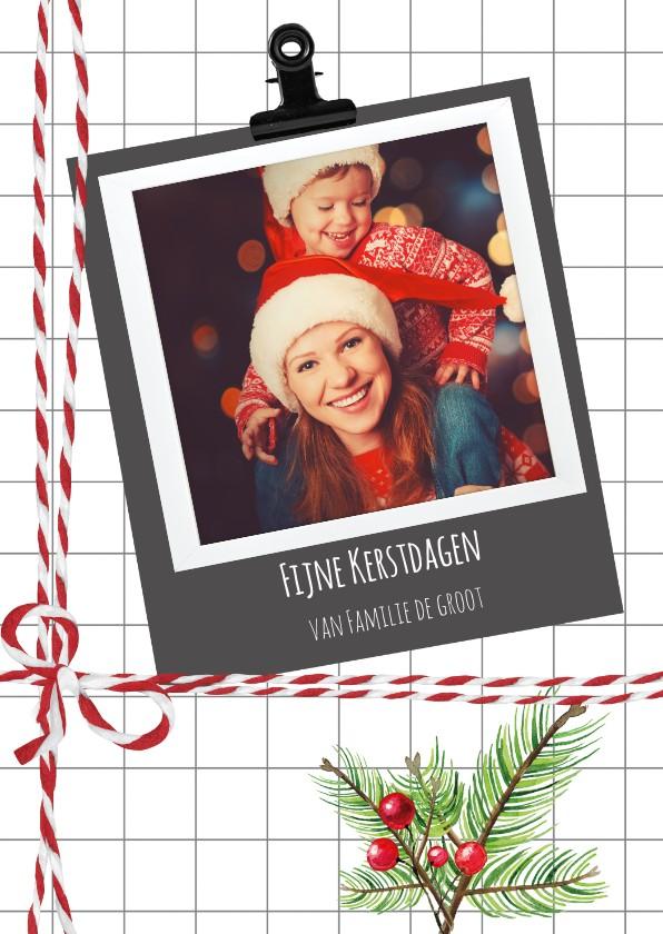 Kerstkaarten - Kerstkaart met geruite achtergrond