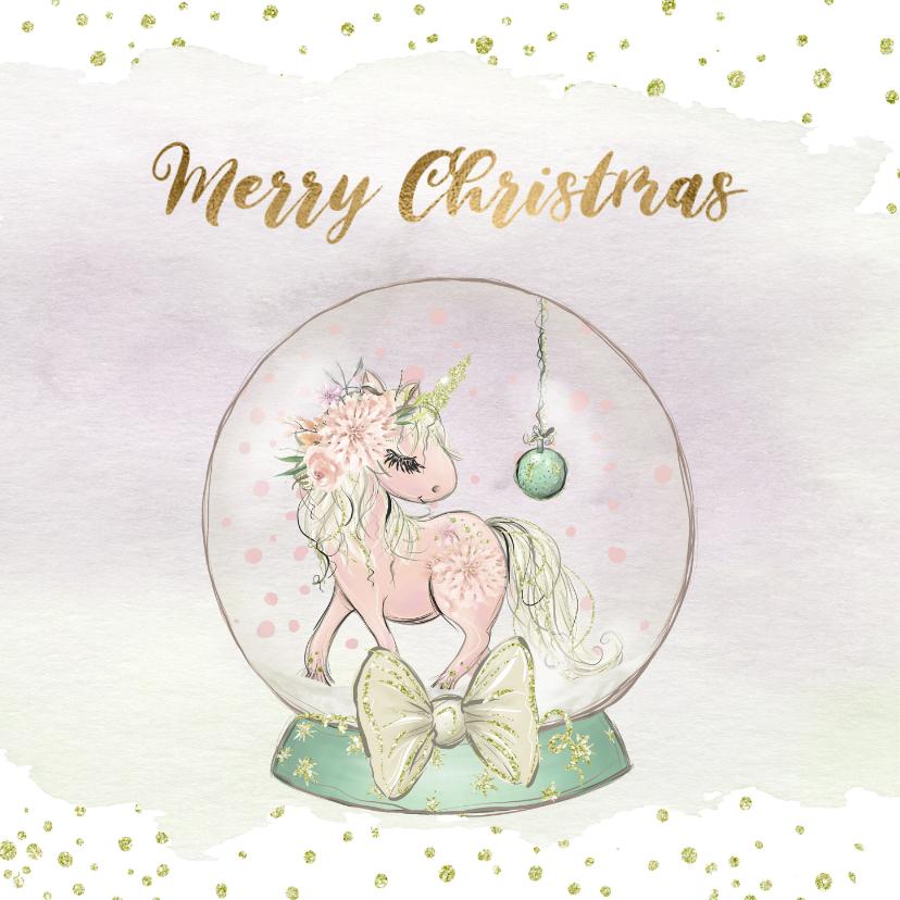 Kerstkaarten - Kerstkaart met globe en eenhoorn