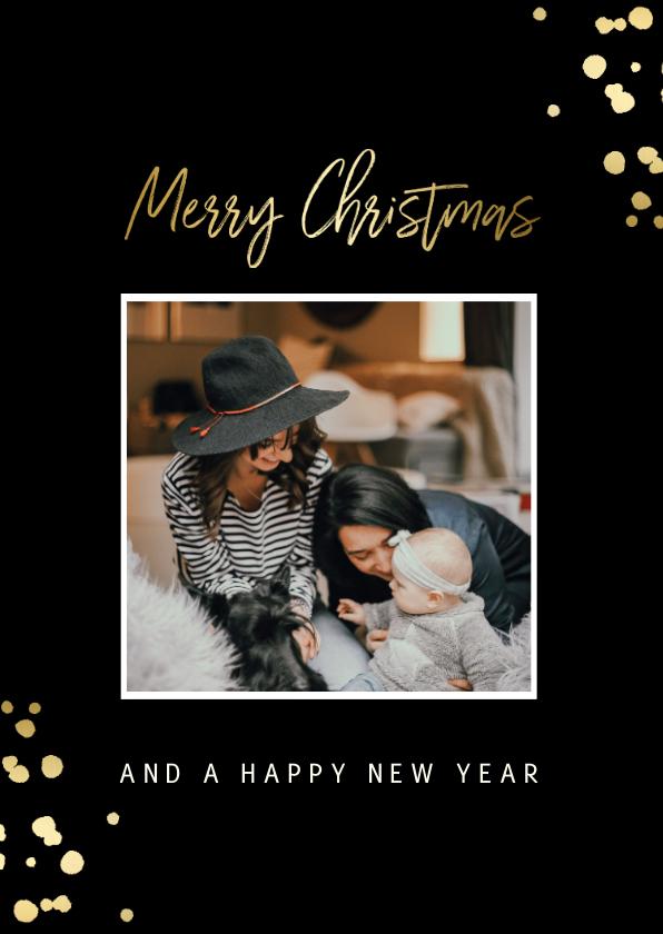 Kerstkaarten - Kerstkaart met gouden confetti en foto