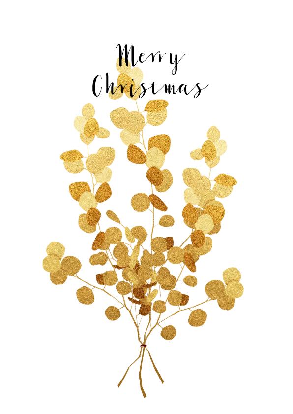 Kerstkaarten - Kerstkaart met gouden eucalyptus