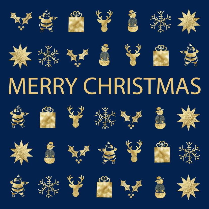 Kerstkaarten - Kerstkaart met gouden figuurtjes