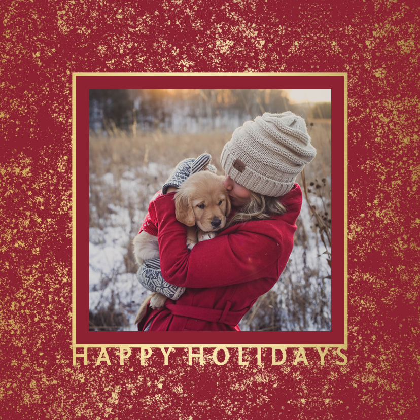 Kerstkaarten - Kerstkaart met gouden fotokader en sneeuw
