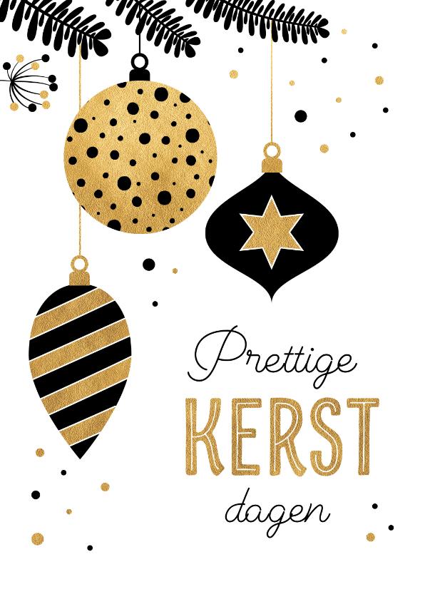 Kerstkaarten - Kerstkaart met gouden kerstballen