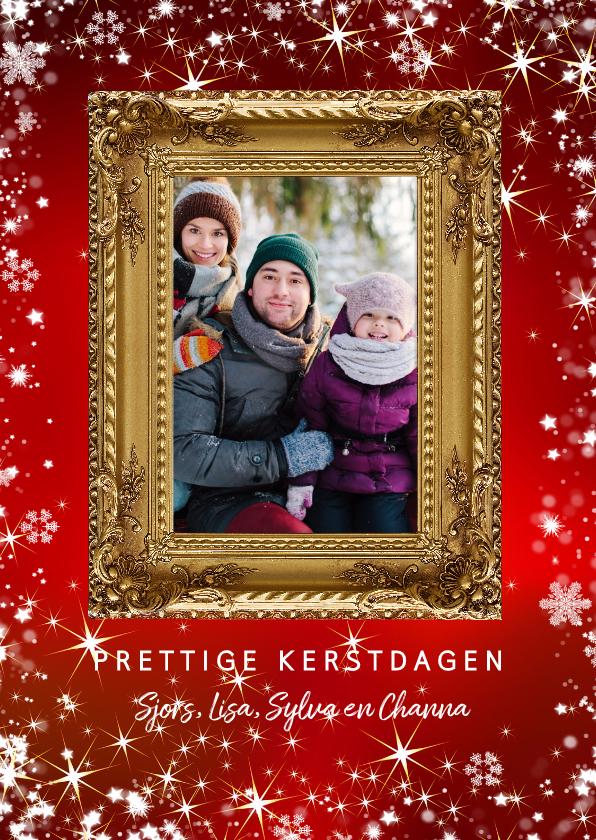 Kerstkaarten - Kerstkaart met gouden sierlijke fotolijst