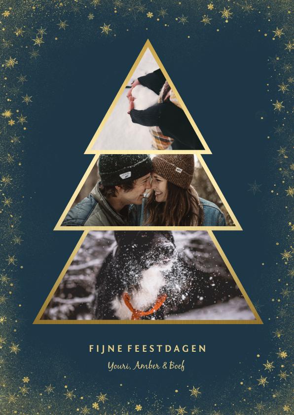 Kerstkaarten - Kerstkaart met goudlook fotokerstboom en gouden kader